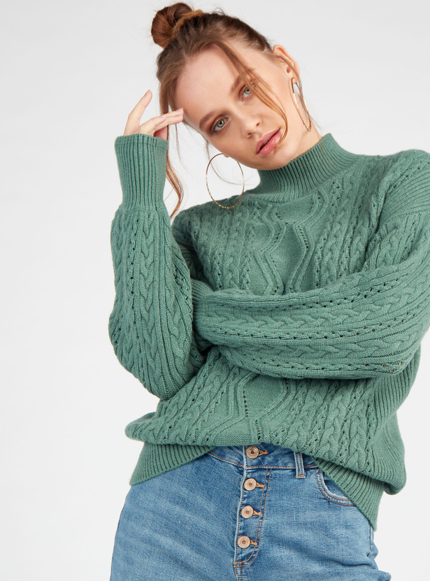 Cable Knit Sweater with High Neck and Long Sleeves
