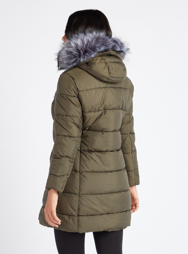 Quilted Parka Jacket with Hooded Neck and Fur Detail