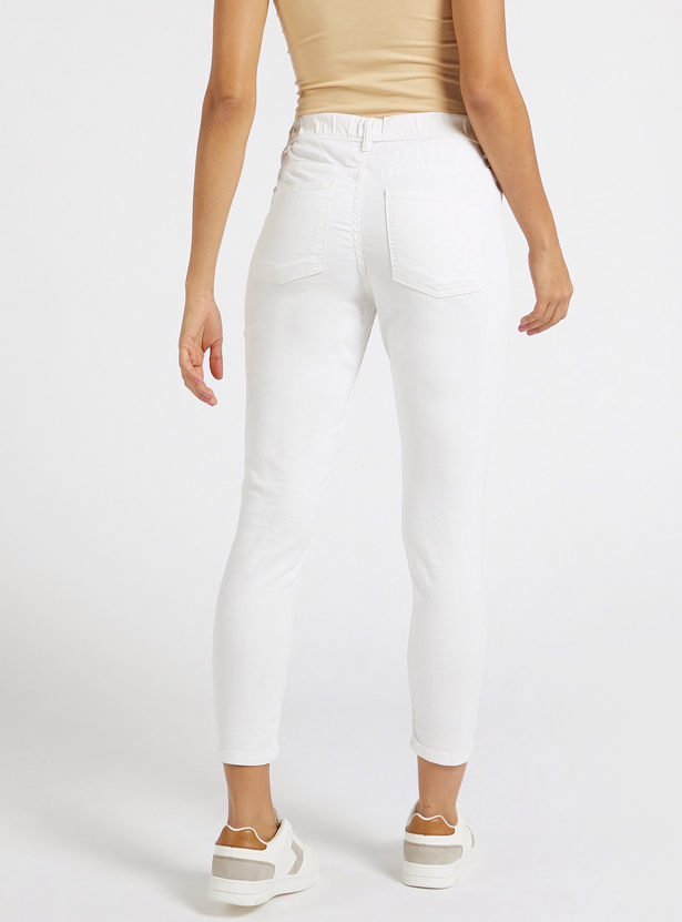 Skinny Fit Mid-Rise Cropped Jeggings with Elasticised Waistband