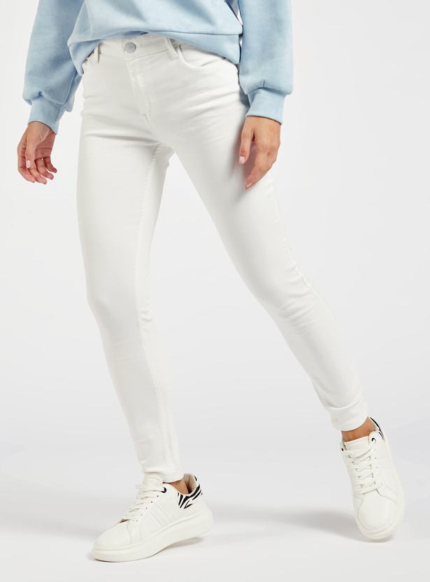 Skinny Fit Solid Ankle Length Jeans with Button Closure and Shorter Inseam