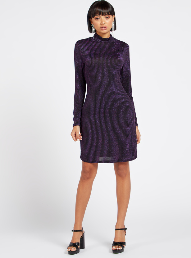 Ribbed High Neck Shimmer Bodycon Dress with Long Sleeves