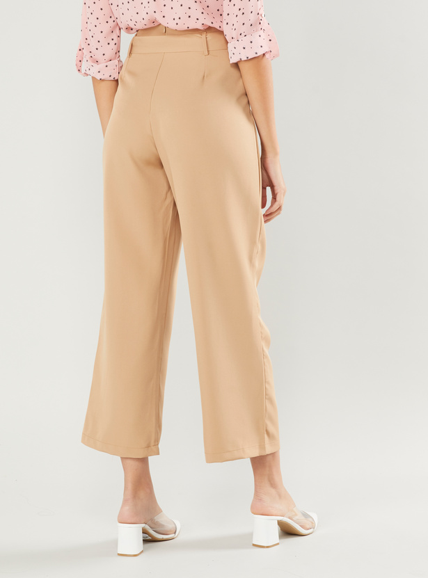 Textured Palazzo Pants with Belt and Button Detail